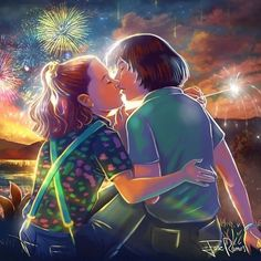 Stranger Things Eleven and Mike Kissing by Jose Ramos Season 3 Millie Bobby Brown Stranger Things Netflix, Stranger Things Quote, Stranger Things Aesthetic, Stranger Things Season 3, Eleven Stranger Things, Millie Bobby Brown, Images, Fan Art, Drawings