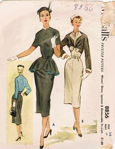 McCall's 8856 Slim sheath Dress with Detachable Peplum and Matching Jacket from 1952