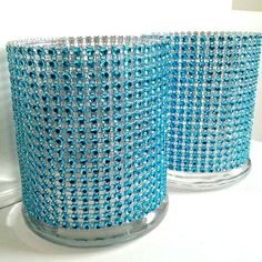 Cylinder Vase Cocktail Hour / Bar Vases Lot Turquoise Teal Bling Rhinestone Diamond Crystal Elegant Wedding Party Vases 5 Pc Lot
