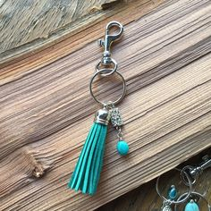 Turquoise Tassel Keychain Purse Charm | Fringe Keyring | Decorative Zipper Pull | Mother's Day Gift | Suede Tassle Charm | Party Favours by MagnificentMouse on Etsy