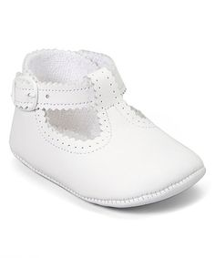 Loving this White Scalloped Leather T-Strap Shoe on #zulily! #zulilyfinds