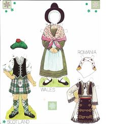 Traditional Folk Costumes of Europe 9 of 10 ROMANIA and SCOTLAND and WALES