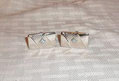 1950s Vintage Silver Tone Cuff Links with Aqua by MyVintageHatShop