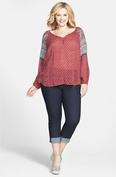 Lucky Brand Peasant Top & NYDJ Skinny Jeans (Plus Size)  available at #Nordstrom