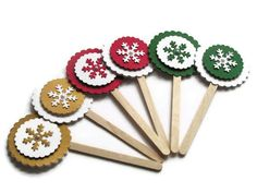 Christmas Snowflake Cupcake Picks Gold Red Green Blue by noolys, £6.00