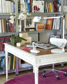 Top 38 Retro Home Office Designs Shabby Chic Office Desk, Chic Desk, Office  Designs