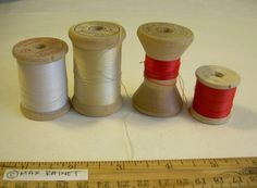 4 Vintage Antique Wood Sewing Thread Spool Lot Larges Pools Belding Corticelli | eBay
