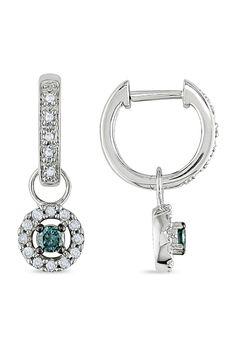 From the Vault 0.33 ct White & Blue Diamond Earrings in 10k White Gold - Beyond the Rack