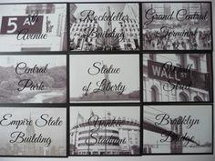 New York themed Wedding Table Names