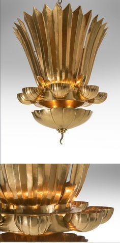 Lars Holmström, A Monumental Swedish Grace Period Hammered Brass Chandelier, circa 1925