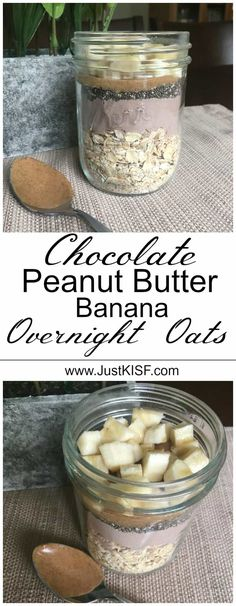 Delicious and easy chocolate peanut butter and banana overnight oats!