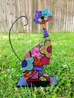 Britto Inspired Wooden Cat