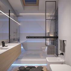 Os banheiros com porta de correr são show!!                                                            Fonte: Home Designing