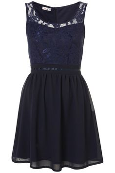 embroidery lace navy dress