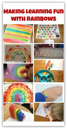 Lots of rainbow themed learning activities for kids. Colorful ways to practice alphabet letters, sight words, spelling... so many things!