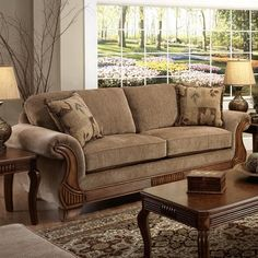 Chelsea Home Glendale Sofa in Traveler Havana - Botany Pillows - BEYOND Stores