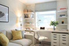 """Transitional Home Office by Alex Maguire Photography - Wallpaper """"Erin"""" by Harlequin"""