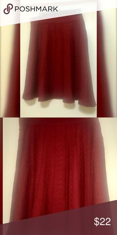 Vintage H &M Cranberry sweater skirt Perfect condition rich  in color light weight  midi skirt . H&M Skirts Midi
