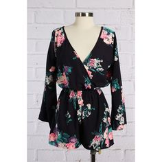 Floral Romper #406-L V neck long sleep floral romper. 100% Polyester. Pants Jumpsuits & Rompers