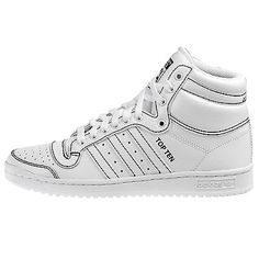 finest selection fb28b 9c145 Adidas Originals Top Ten Hi Mens F37588 White Black Shoes Sneakers Size 9.5  Black Shoes Sneakers