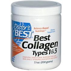 Doctor's Best, Best Collagen Types 1 & 3, 7.1 oz (200 g) @ $9.36  Collagen is the major structural protein in connective tissue and the most abundant protein in the human body. It is responsible for maintaining the strength and flexibility of bones, joints, skin, tendons, ligaments, hair, nails, blood vessels and eyes, among other tissues throughout the body.