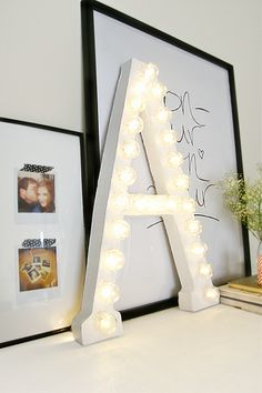 Back to Campus: 10 Stylish DIY Dorm Decor Ideas. Marquee letters add a great touch of style! Diy Marquee Letters, 3d Letters, Cardboard Letters, Diy Cardboard, Letters With Lights, Monogram Letters, Decorate Letters, Design Letters, Marquee Sign