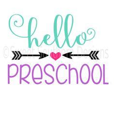 Hello preschool school SVG DXF instant download design for cricut or silhouette