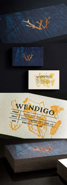Dark And Mysterious Copper Foiled Letterpress Business Card For A Film Studio