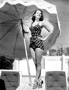 Vintage Polka Dot Swimsuit.