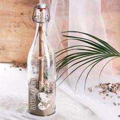 Flaschenpost zur Hochzeit mit persönlicher Gravur
