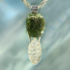 Raw Moldavite & Herkimer Diamond Silver by ArkadianCollection