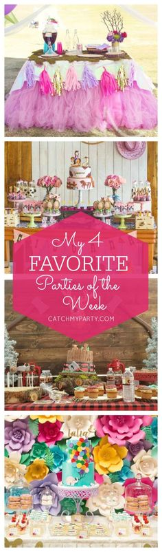 My favorite parties include a unicorn princess party, a cowgirl party, a lumberjack first birthday party and a birthday garden tea party | Catchmyparty.com