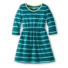 Girls' Striped A Line Dress