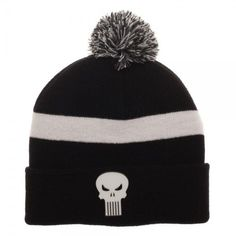 cce843382005a8 The Punisher Cuff Beanie Hat Cap Black White Skull Logo Marvel Comics  Stripe NEW #Bioworld