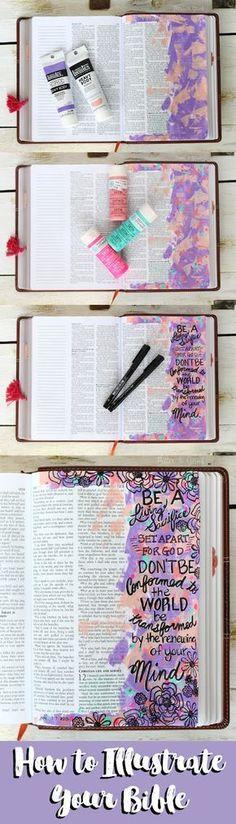 Bible Journaling: A step-by-step process tutorial of illustrating Romans Scripture Art, Bible Art, Book Art, Organisation Journal, Art Doodle, Kunstjournal Inspiration, Bible Study Journal, Art Journaling, Scripture Journal