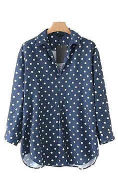 SheIn offers Polka Dot Print Dolphin Hem Blouse & more to fit your fashionable needs. Polka Dot Blouse, Blue Polka Dots, Polka Dot Print, Blue Blouse, Top Street Style, Street Style Trends, Street Outfit, Blouse Online, Blue Tops