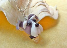 Schnauzer Necklace Lampwork Glass Bead SRA by SUZOOM on Etsy