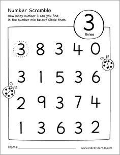 Free printable scramble number three activity