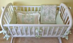 Sage Central Park Toile Baby Cradle Bedding Set  by copagedesigns