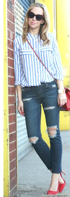silky button up + distressed jeans + red cross body + red heels