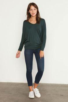 Zoe Long-Sleeve Tee (Darkest Spruce) – Long Sleeve – Amour Vert