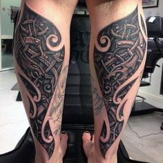 Innovative Norse Tattoo With Dragon Guys Calves