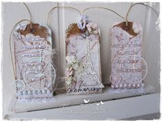 May Flower Tags by LLC DT Member Elin Torbergsen. Papers from Maja Design's Vintage Spring Basics Collection.