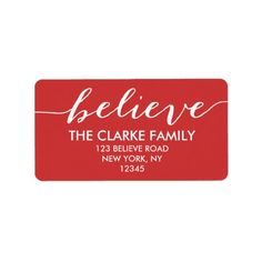 Handwriting Believe Red White Holiday Greeting Custom Address Label