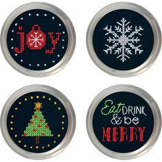 Make fun mason jar toppers with this Holiday Cheer Jar Topper Counted Cross Stitch Kit.