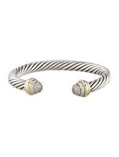 Sterling silver David Yurman Cable Classics cuff bracelet featuring round brilliant diamonds at end caps set in yellow gold. Urban Fashion Women, Older Women Fashion, Womens Fashion For Work, Women's Summer Fashion, Women's Fashion, Expensive Jewelry, Womens Fashion Sneakers, Jewelry Companies, Fashion Accessories