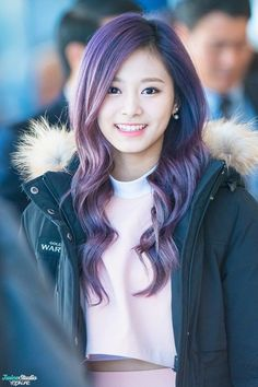 Chou Tzuyu, known mononymously as Tzuyu, is a Taiwanese singer based in South Korea and a member of the K-pop girl group Twice, under JYP Entertainment. Kpop Girl Groups, Korean Girl Groups, Kpop Girls, Nayeon, K Pop, Twice Tzuyu, Twice Kpop, Hair Color Purple, Korean Women