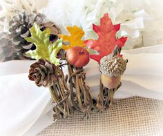 Rusic Autumn Fall Oak Leaf Napkin Rings, Pine Cone Acorn Pumpkin Napkin Rings, Thanksgiving Napkin Ring, Fall Autumn Table Decor Decoration