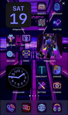 Iphone Home Screen Layout, Iphone App Layout, Purple Wallpaper Iphone, Aesthetic Iphone Wallpaper, Neon Wallpaper, App Icon Design, Ios Design, Iphone Life Hacks, Instagram Editing Apps