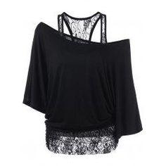 #Valentines #AdoreWe #trendsgal.com - #Trendsgal Skew Collar Lace Trim T Shirt - AdoreWe.com